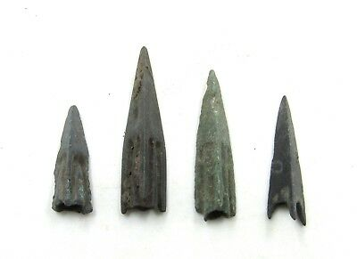 Authentic Lot Of 4 Ancient Scythian Bronze Arrow Heads - H24