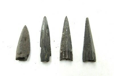 Authentic Lot Of 4 Ancient Scythian Bronze Arrow Heads - H25