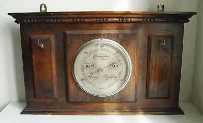 Large Heavy Antique home weather station Vintage Wall barometer Wood