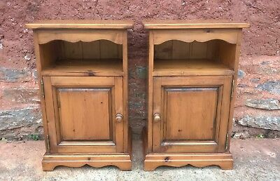 Pair Of Pine Bedside Cabinets / Solid Pine Pot Cupboards ( + DELIVERY ? )
