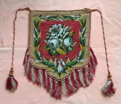 Beautiful Antique Victorian Banner, Fire Screen. Roses, Lily Etc. Super Colours