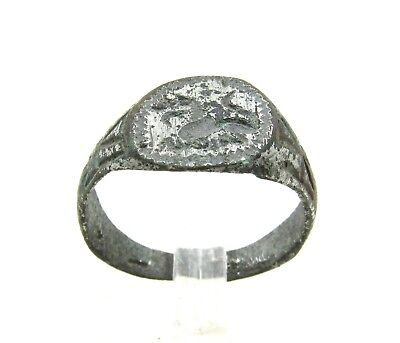 Authentic Medieval Viking Era Silvered Bronze Ring W/ Dragon  - Wearable - H40