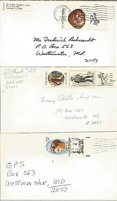 """1976/77, 3 Briefe  nach WESTMINSTER, MD. mit """"MAIL EARLY IN THE DAY/USE ZIP CODE"""