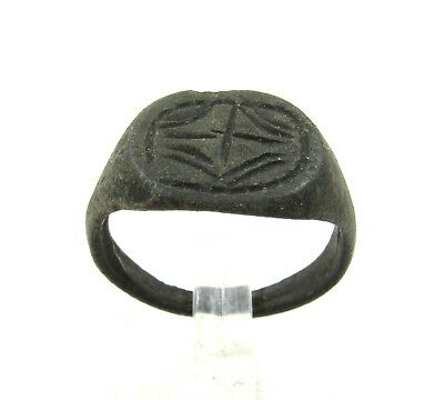 Authentic Medieval Crusaders Era Bronze Ring W/ Cross - H43