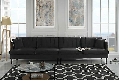 Mid Century Extra Large 4 Seater Sofa, Pleated Living Room Couch, Pillows, Black