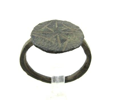 Authentic Crusaders Bronze Ring W/ Star Of Bethlehem - Wearable - H45