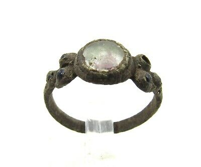 Authentic Late Medieval Tudor Bronze Ring W/ Glass - Wearable - H46