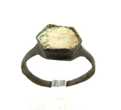 Authentic Late Medieval Tudor Bronze Ring W/ Mother Of Pearl - Wearable - H47