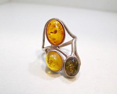 Vintage Triple Color Green Yellow Orange Amber Sterling Silver Ring Size 8.25