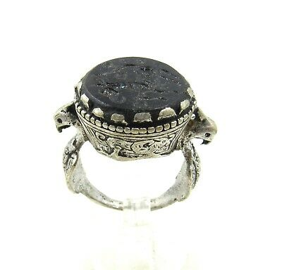 Authentic Post Medieval Silver Ring Intaglio W/ Horse - Wearable - H48