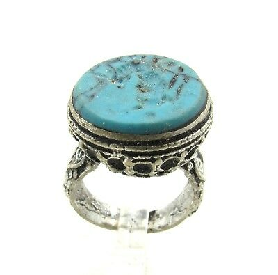 Authentic Post Medieval Silver Ring Intaglio W/ Beast - Wearable - H49
