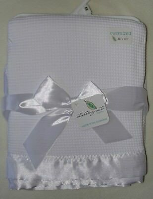 Starting Out Layette Baby Blanket White Thermal Waffle Knit Satin Edge Trim