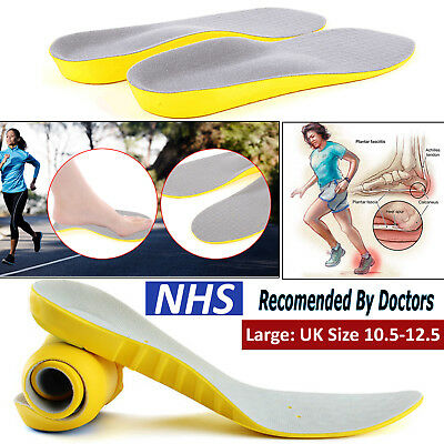 Pair of Large Unisex Orthopaedic Memory Foam Shoe Insoles Pads Trainer Foot Heel