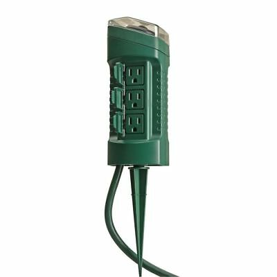 Woods Outdoor 6-Outlet Yard Stake with Built in Timer and 6-Foot Cord, Green
