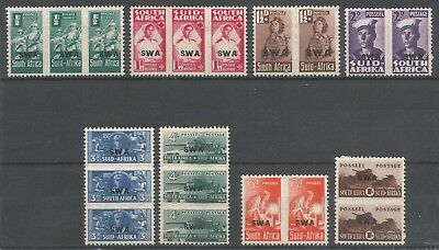 S.W.A. 1943 KGVI MVLH-MNH Set of 8 Units   War Effort  SG123-130 Cat.$33//£25