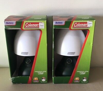 2 Coleman Battery-Operated Table Lamps Lanterns For Camping Model 5370