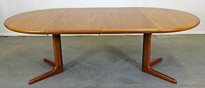 Mid-Century Danish Modern Skovby Round Extendable Teak Dining Table