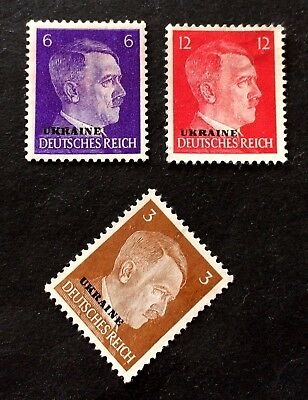 2  old mint hinged stamps German Occupation of Ukraine