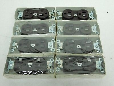 LOT OF 8! NEW! ARROW HART 2 Pole 3 Wire 5242 BROWN 15A 125V Duplex RECEPTACLE