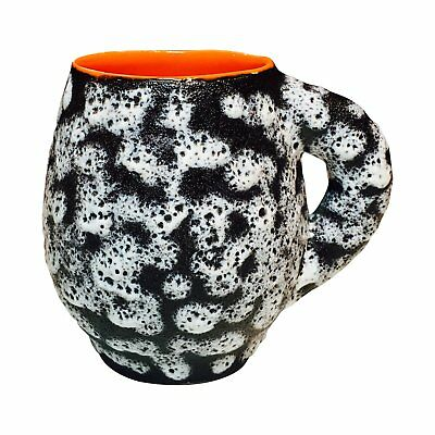Vintage Mid Century Modern French Valurais Black, White and Orange Fat Lava Mug