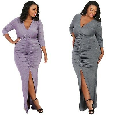 Plus Size Bodycon Maxi Dress Metallic Party Cocktail Full Length Ruched V Neck