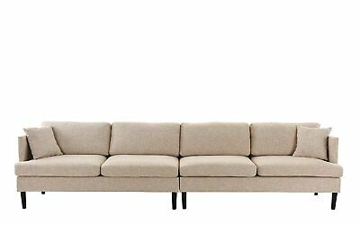 Mid Century Extra Large Linen Fabric Sofa, 4 Seater Living Room Couch (Beige)
