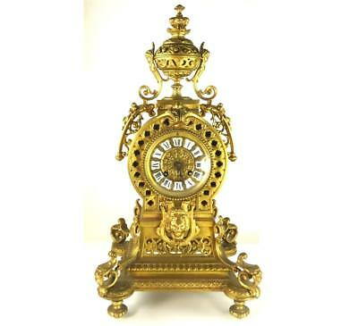 Antique French Pierced Brass Mantle Clock 8 Day Bell Striking Movement