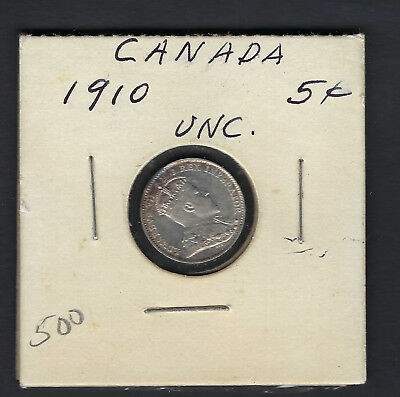 UNC 1910 Silver 5 Cents Canada King Edward the VII Pointed Leaves
