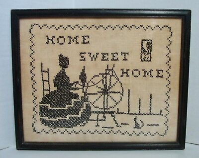 """Vintage Completed Hand Stitched Cross Stitch Sampler  """"Home Sweet Home"""""""