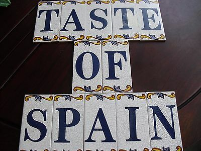 New Spanish Tile decor 12 Mayolica vintage colorful name Spain home Espana