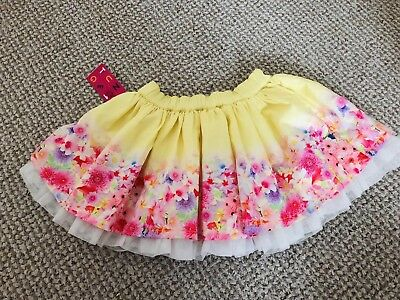 New With Tags Baby Girls Yellow Floral Pretty Skirt Size 1.5-2 Years