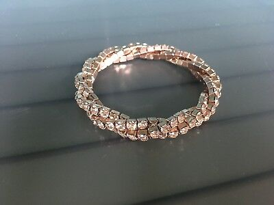 Touchstone Crystal by Swarovski-- blush tri twist stretch bracelet