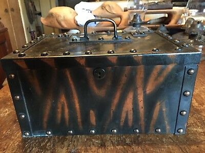 Vintage Antique Industrial Japanned Copper Flash Steel Strong Box