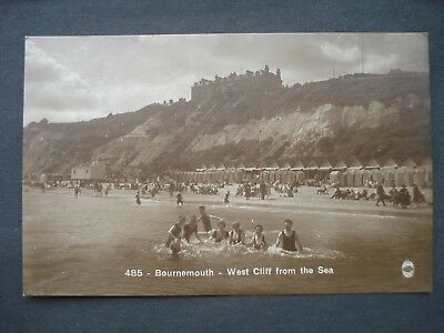 Regent Series 1930's Post Card West Cliff from Sea, Bournemouth