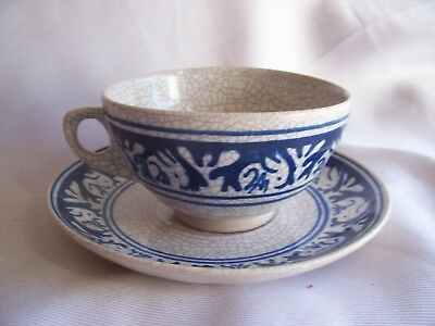 Signed Antique Dedham Pottery Arts & Crafts Era Cup & Saucer Who is A.R.??
