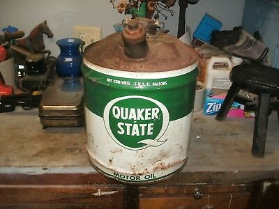 Antique Vintage 5 Gallon Oil Can Advertising Quaker State Motor Oil - Empty