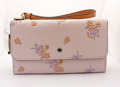 New 29608 Coach Triple Small Wallet Pebble Leather