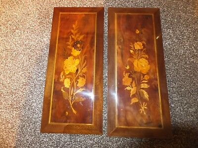 Two small antique oblong inlaid cabinet panels.