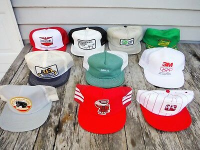 Lot Of 10 Vintage Snapback Trucker Style Hat Hats Farm Seed Mesh Patch Neat 4