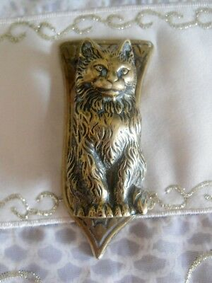"Antique/ Vintage Solid Brass Cat Door Knocker 2.5"" long Mini"