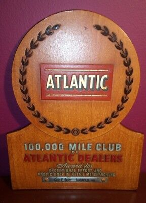 Extremely Rare 1942 -ATLANTIC GAS AND OIL CO. 100,000 DEALERSHIP MILES CLUB WOOD