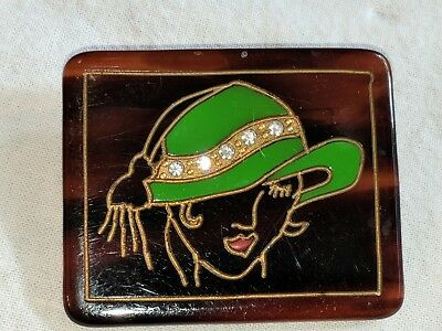 Vintage Faux Tortoiseshell Lucite & Rhinestone Woman Hat Brooch Pin