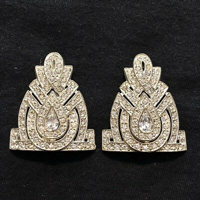 Antique Art Deco Pair Of Beautiful Clear Rhinestones Dress Clips