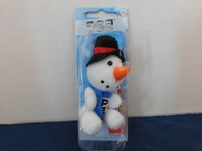 PEZ: Fuzzy Friend Snowman Dispenser Keychain with top hat 2010 New in Package
