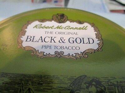 ROBERT McCONNELL BLACK & GOLD Collectible Pipe Tobacco Tin  Holds 1.75 OZ.