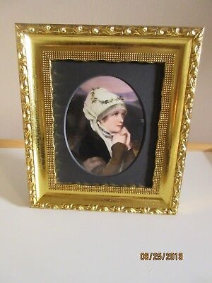 GORGEOUS HAND PAINTED PORTRAIT PORCELAIN PLAQUE, MAIDEN with WREATH, GERMAN