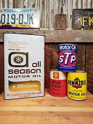 Vintage Oil Can Lot of 4 Garage Decor Pennzoil Shell STP quart Cardboard Empty