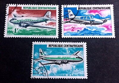 Republique Centrafricaine 3 nice old canceled stamps