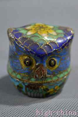 Collectable Chinese Style Cloisonne Carve Royal Owl Delicate Rare Jewel Box Gift