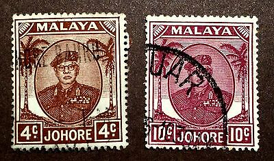 2 old used stamps 4 and 10 Cents Johore Malaya (Malaysia)